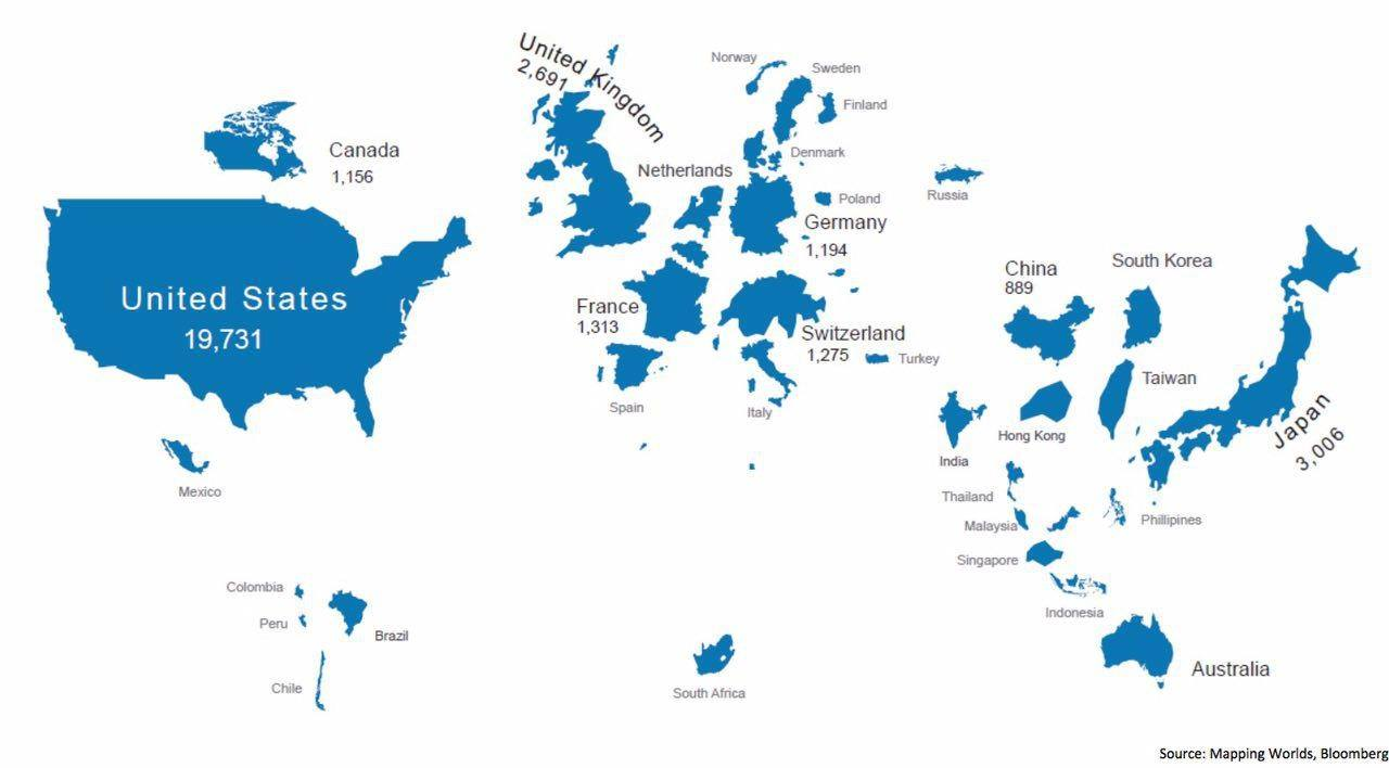 Карта по объемам капитализации фондовых рынков стран.