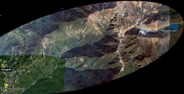 Карта дороги Гангток - озеро Цонгмо (Сикким, Индия). Gangtok - Tsongmo lake road map (Sikkim, India)