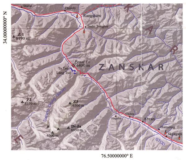 Карта Занскара (фрагмент с ледником Darung Drung). Zanskar Map