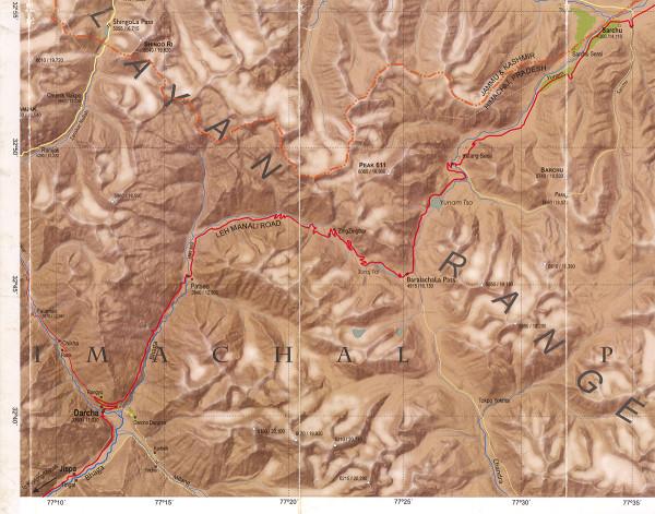Карта отрезка Darcha-Sarchu трассы Лех-Манали, Химачал, Индия (Map, Himachal, India)