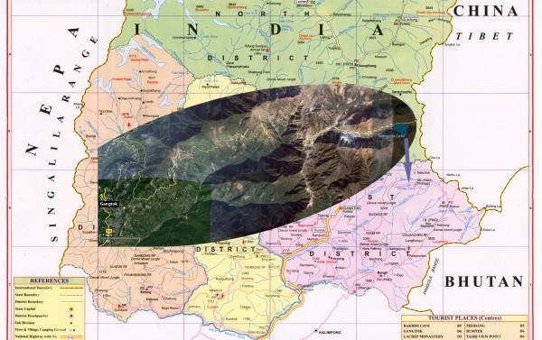 Maps of India. Map of the East Sikkim (Карты Индии. Карта восточного Сиккима)