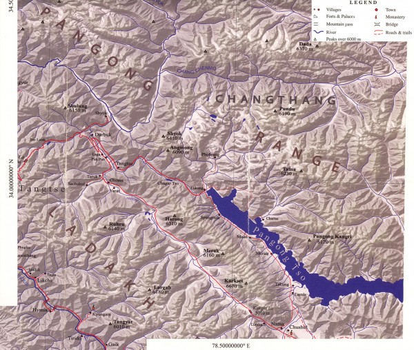 Карта окрестностей озера Пангонг Цо. Ладакх, Индия (Мap of the Pangong Tso lake surrounding area. Ladakh, India)