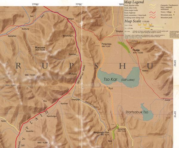 Карта окрестностей озера Цо Кар. Ладакх, Индия (Мap of the Tso Kar lake surrounding area. Ladakh, India)