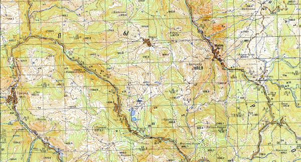 Болгария. Родопи. Карта Триград-Мугла. Bulgaria. Rhodope mountains map