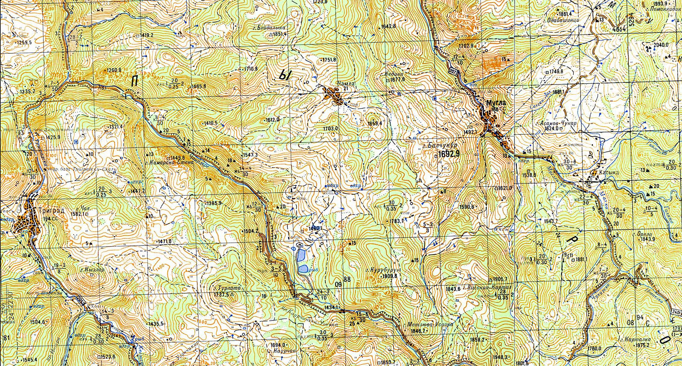 Болгария. Родопи. Мугла. Bulgaria. Rhodope mountains map