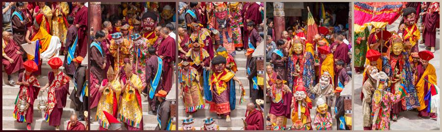 Religion. Cham Dance. Masked and costumed mystery dance of Tantric Buddhism. Begining the ceremony. Hemis. Хемис. Начало сакральной костюмированной церемонии Цам Тантрического буддизма. Дхармапалы, бодхиcатвы, ваджраяна