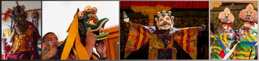 Religion. Cham Dance. Black hat. Masked and costumed mystery dance of Tantric Buddhism. Garuda, Dharmapalas, Bodhisattvas. Vajrayana. Lamayuru, Kursha (Karsha), Sikkim. Ламаюру, Карша (Курча), Сикким. Маски танца Цам - сакральной костюмированной церемонии Тантрического буддизма. Дхармапалы, бодхиcатвы, ваджраяна