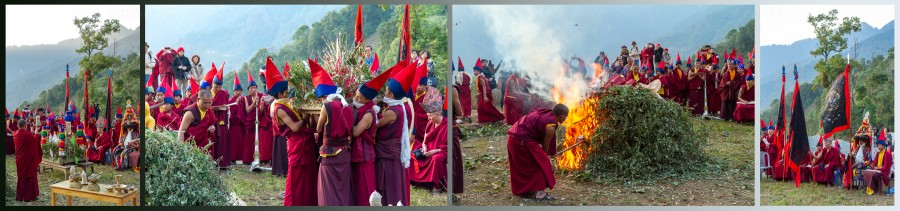 Religion. Cham Dance. Masked and costumed mystery dance of Tantric Buddhism. Buring the Zor (Zlog-gtor). Vajrayana. Танец Цам - сакральная костюмированная церемония Тантрического буддизма. Ритуал сжигания зора (сора)