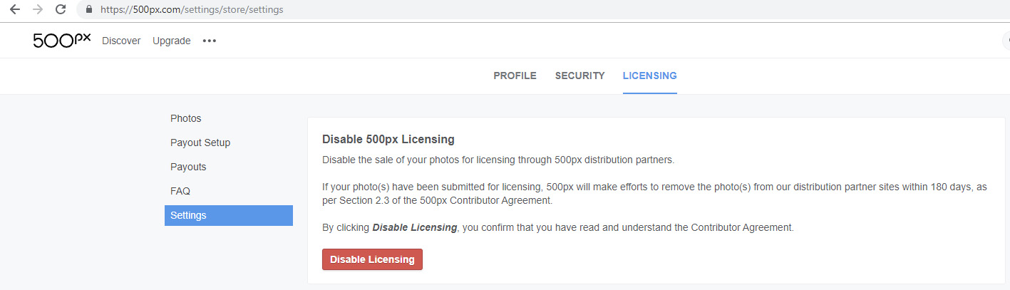 500px disable licensing