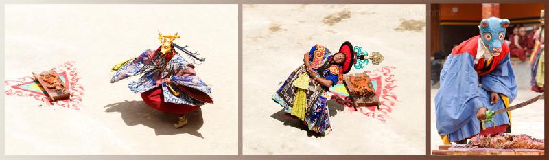Religion. Cham Dance. Masked and costumed mystery dance of Tantric Buddhism. Mummy dissection. Танец Цам - сакральная костюмированная церемония Тантрического буддизма. Рассечение линка. Жертвоприношение