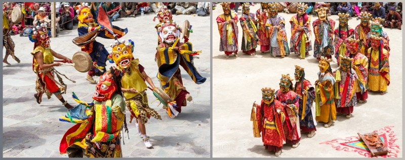 Religion. Cham Dance. Masked and costumed mystery dance of Tantric Buddhism. Dharmapalas, Bodhisattvas. Vajrayana. Hemis, Lamayuru. Хемис, Ламаюру. Маски танца Цам - сакральной костюмированной церемонии Тантрического буддизма. Дхармапалы, бодхиcатвы, ваджраяна