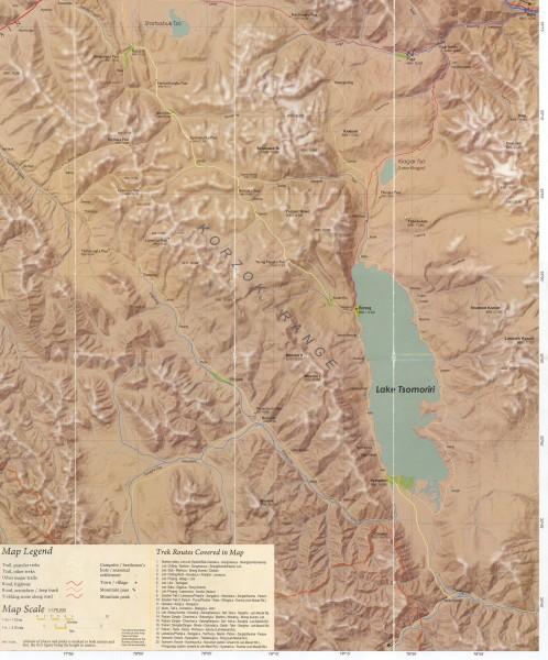 Карта окрестностей озера Цо Морири и буддийского монастыря Корзок (Карзок-Гомпа) (Мap of the Tso Moriri lake and Tibetan Buddhist monastery Korzok (Karzok)surrounding area)