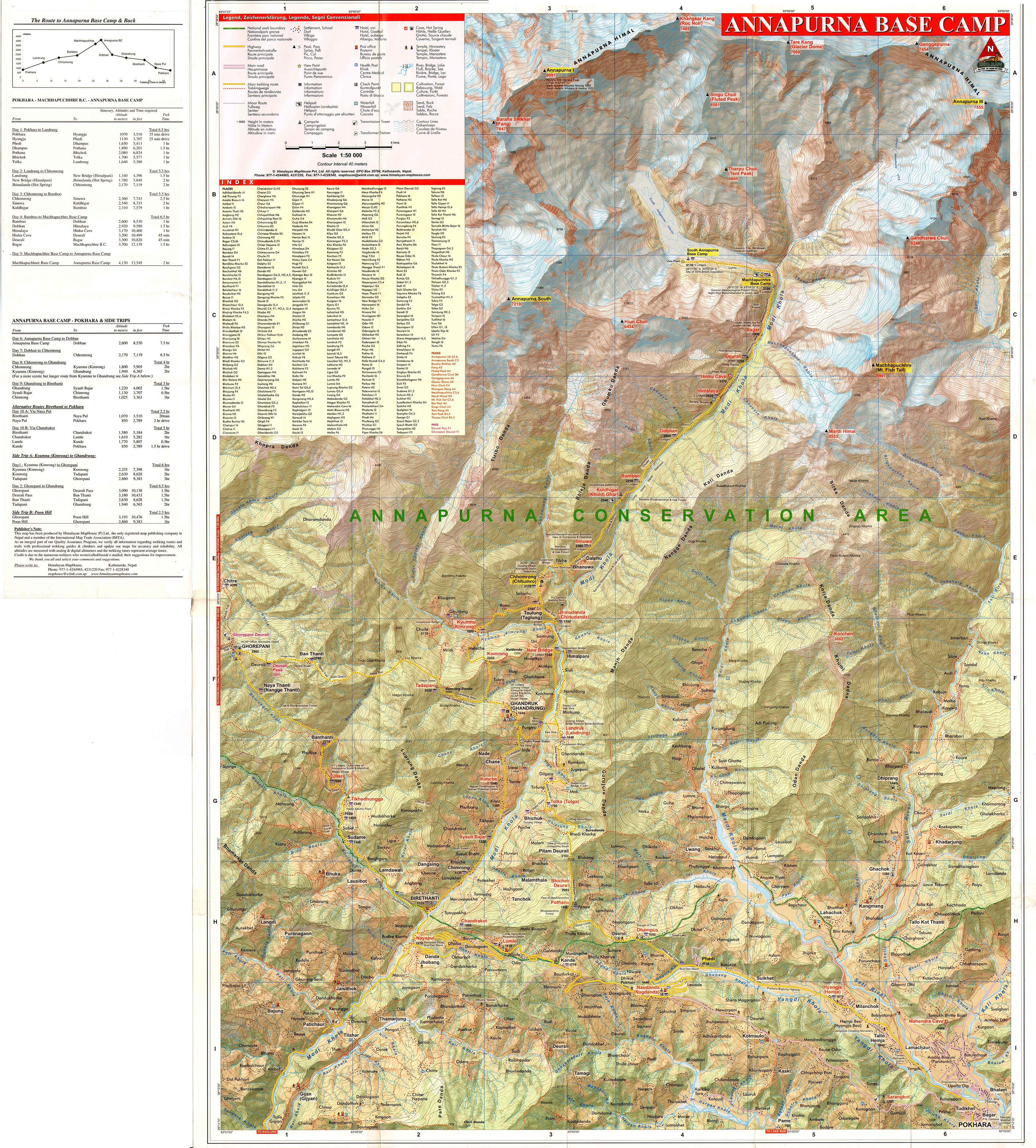 Горный массив Аннапурна и базовый лагерь, Непал, карта, масштаб 1:50000. Map - Annapurna Base Camp and Tent Peak, Nepal