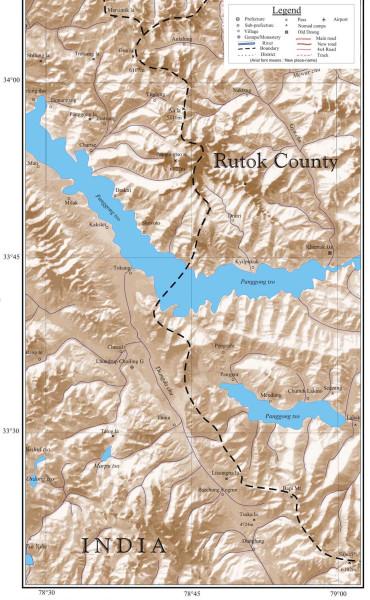 Карта озера Пангонг Цо в Индии и Тибете. Map of Pangong Tso Lake in India and Tibet