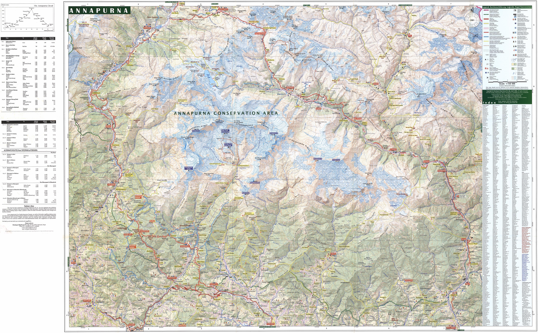 Карта маршрута вокруг горного массива Аннапурна, Непал, масштаб 1:100000. Around Аннапурна, Nepal