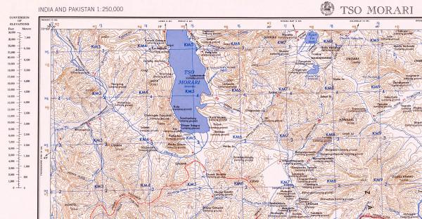 ni-44-13 Карта окрестностей озера Цо Морири и буддийского монастыря Корзок (Карзок-Гомпа) (Мap of the Tso Moriri lake and Tibetan Buddhist monastery Korzok (Karzok)surrounding area)