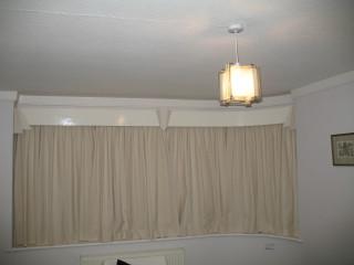 Lounge curtains, pelmet, light shade