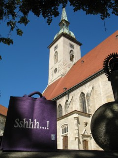 Purple Sshhh bag at St. Martin's Cathedral, Bratislava