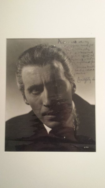 Christopher Lee photo with inscription to Phil Leakey