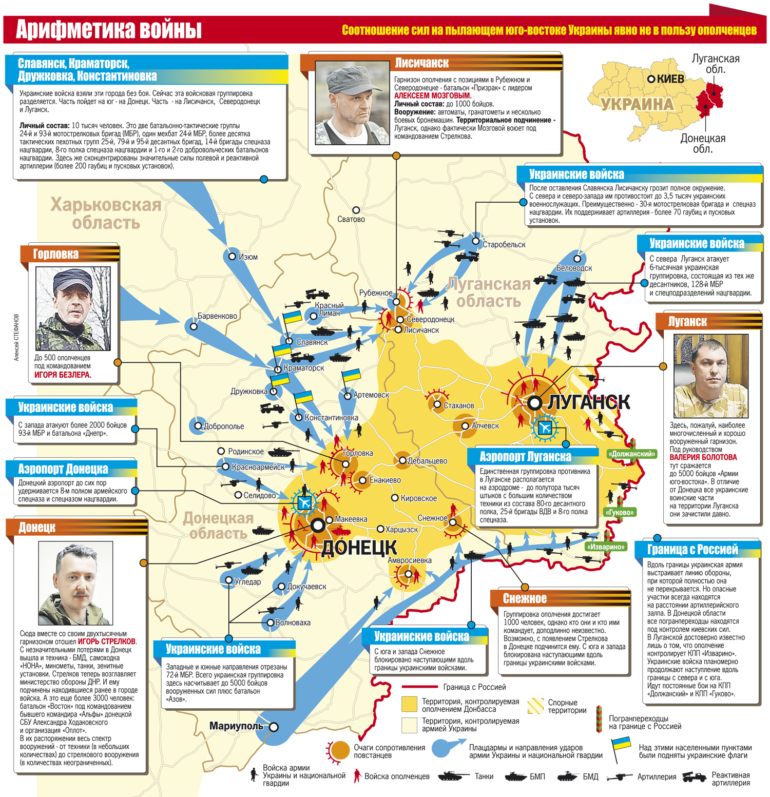 схема расположения войск в донецкой области