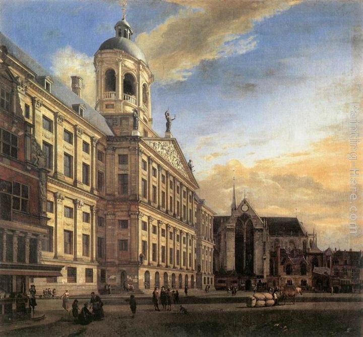 Amsterdam_ Dam Square with the Town Hall and the Nieuwe Kerk