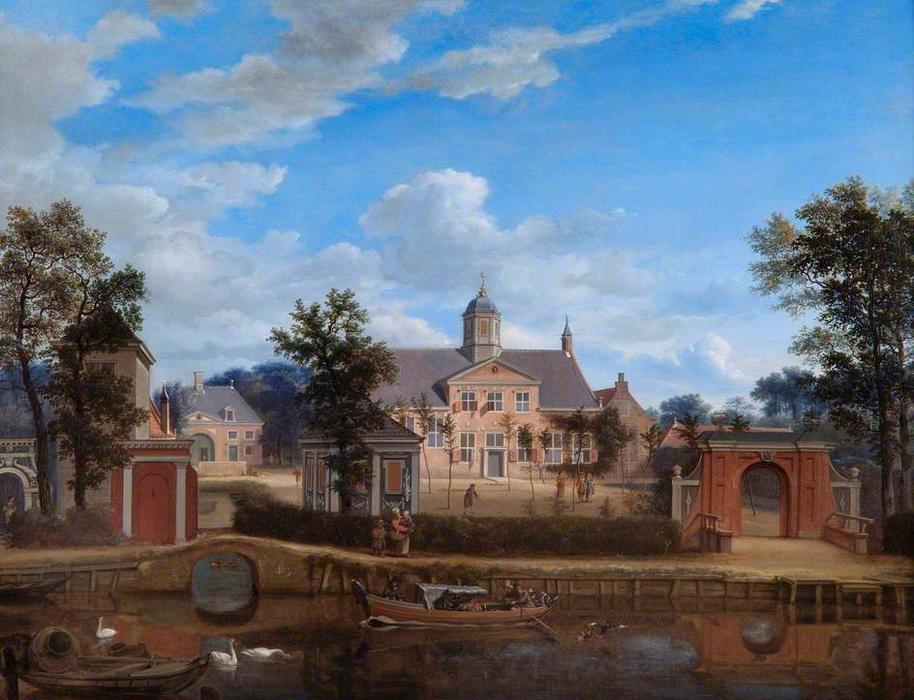 Jan-Van-Der-Heyden-The-Chateau-of-Goudestein-on-the-River-Vecht-near-Maarsen