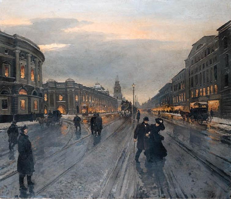 Беггров_Александр_Карлович_(1841-1914)_Невский_проспект_вечером_1882_г