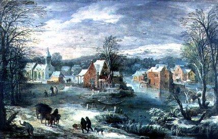 Joos+De+Momper-Village+Landscape+In+Winter
