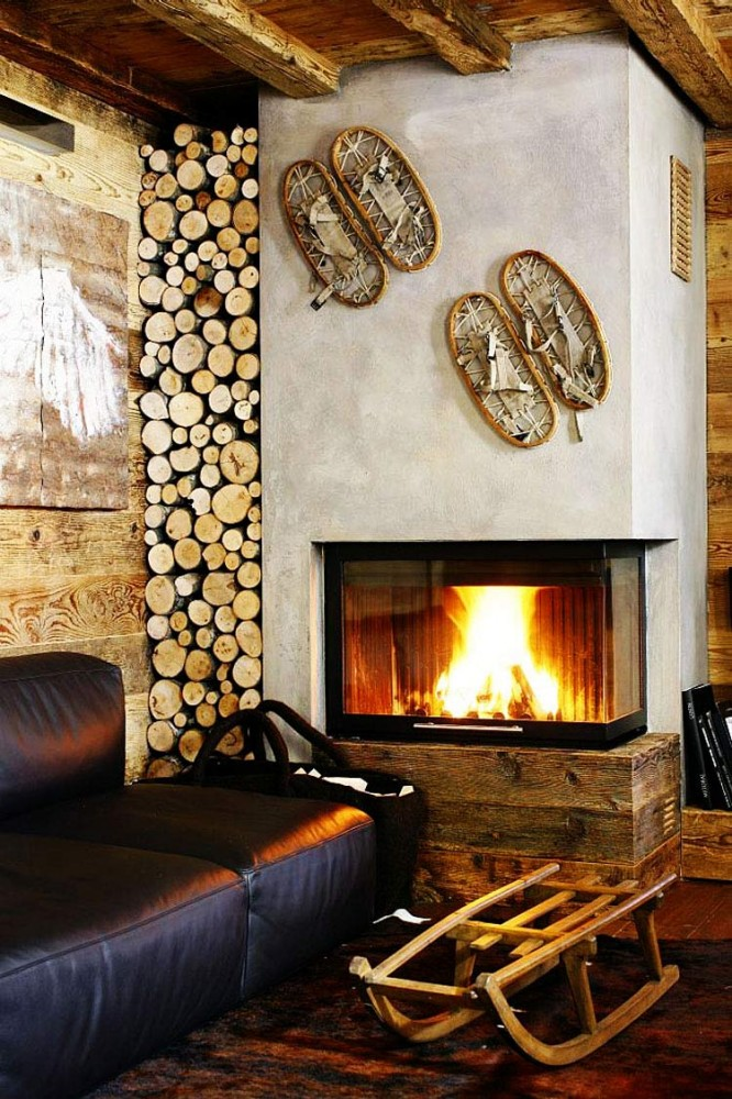 Rustic-Home-Cortina-dAmpezzo-Italy-Modern-Fireplace-Log-Store