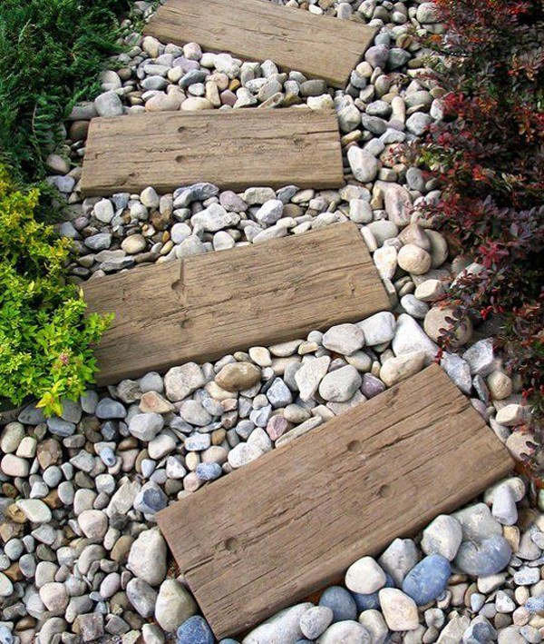 DIY-garden-path-wood-and-stone