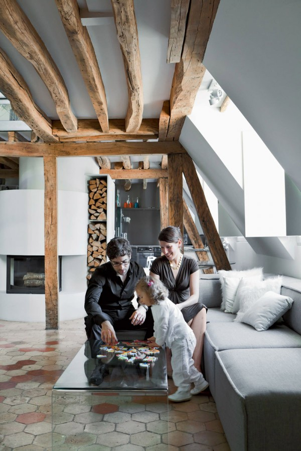 Apartment-Paris-France-Coffee-Table-Sofa-Wood-Beams