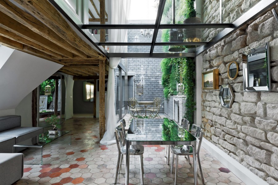 Apartment-Paris-France-Dining-Space-Beams-Glass-Walls