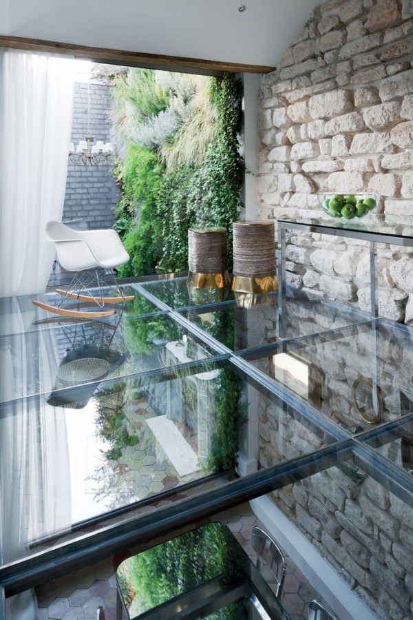 Apartment-Paris-France-Glass-Floor-Stone-Wall