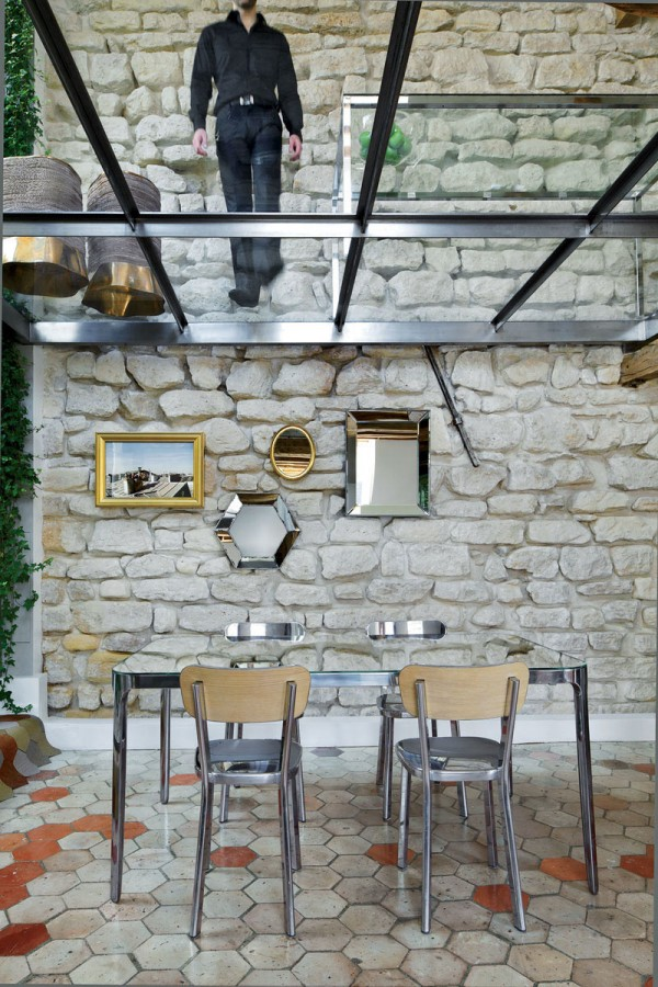 Apartment-Paris-France-Glass-Floor-Stone-Wall-Dining-Table