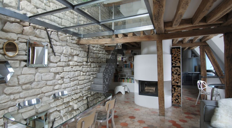 Apartment-Paris-France-Modern-Fireplace-Wood-Store