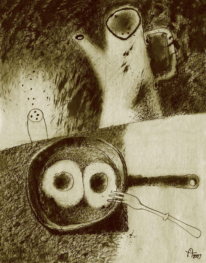 Анна Аренштейн. ЯИЧНИЦА FOREVER. Тонированная бумага, тушь, перо, кисть, 31х41 см, 2009. 800х1019 pix