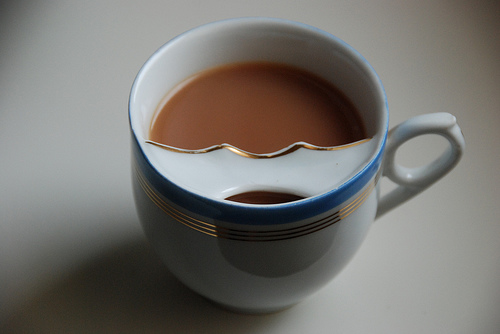 In Victorian times they invented a tea cup to prevent your moustache from getting wet.2