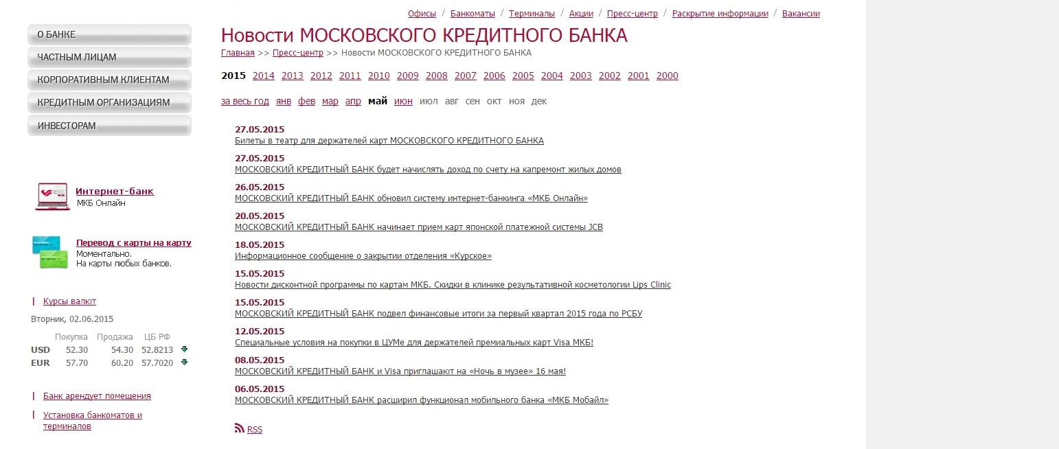 московский кредитный банк отделения на карте