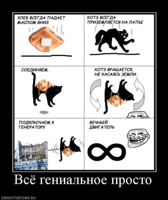 Апории Зенона, Нестандартная научная мысль, Забавная наука, Кошка и будерброд с маслом