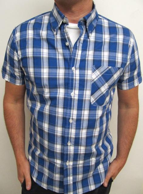 th41336146005Short Sleeve light blue check shirt