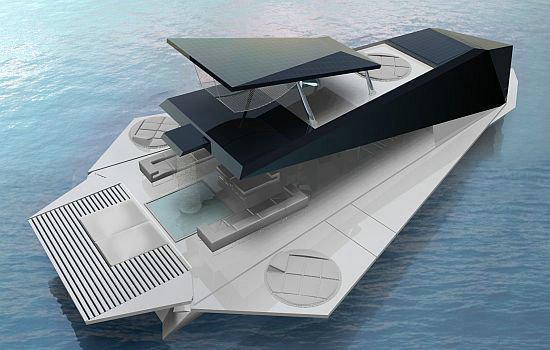 """Складывающаяся яхта - трансформер в """"разложенном"""" виде (очередной концепт)"""