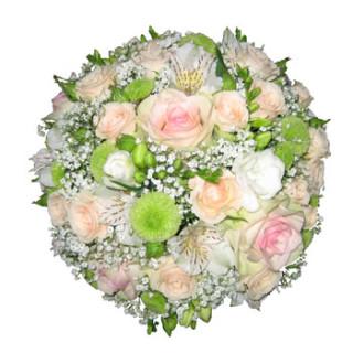 свадебный букет из розы Федора, кустовой розочки Яна, альстомерий и хризантем