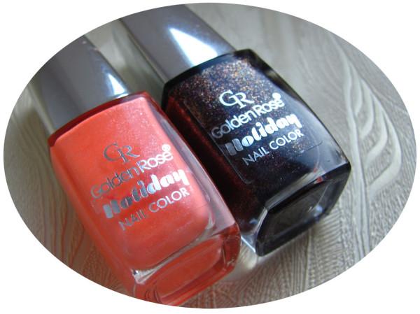 Golden Rose Holiday nail color #58, #78, песочный лак, оранжевый лак, черно-бордовый лак, бордовый лак