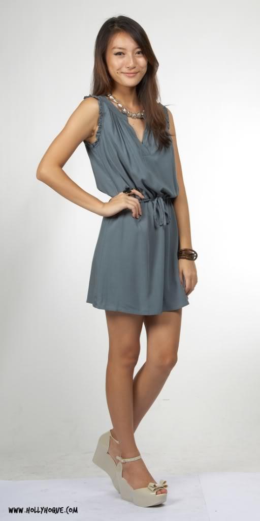fb24968343 Drawstring Pleat-Sleeve Dress - Dusty Emerald