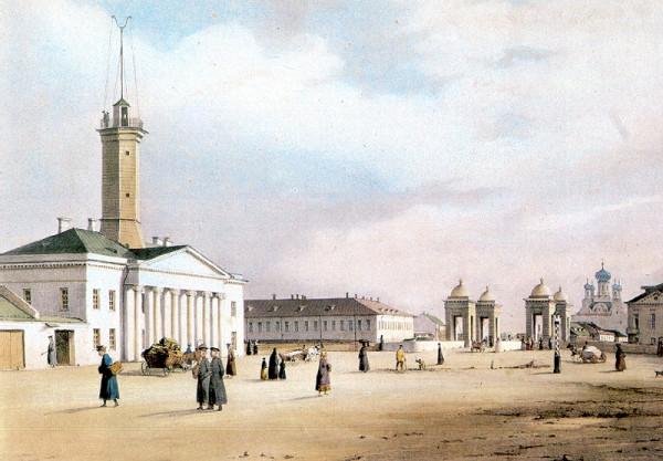 Перро Фердинанд-Виктор. Площадь Старо-Калинкина моста. Литография. Около 1840