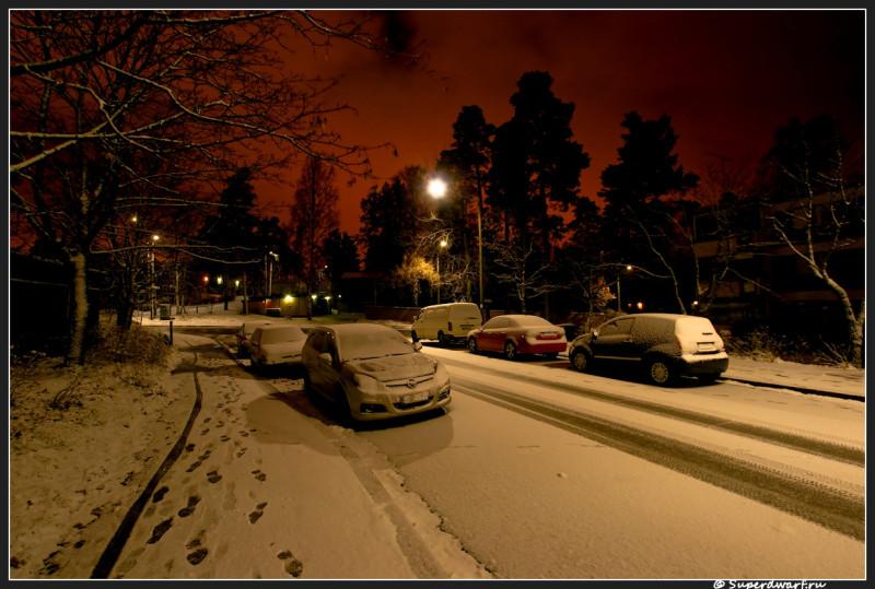 Тишина, зарево от центра Хельсинки