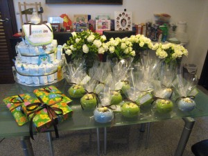 Flowers and giveaways