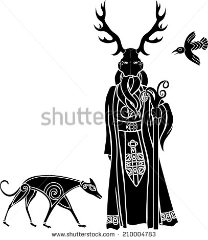 stock-vector-druid-with-ritual-mask-wolf-and-a-bird-celtic-style-210004783