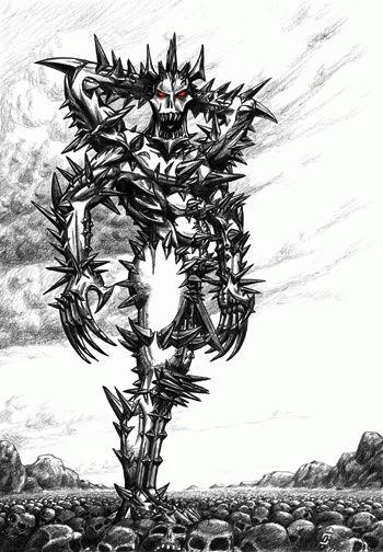 Главный антигерой романа. Монстр, состоящий из колючей проволоки, лезвий, шипов и других острых предметов.