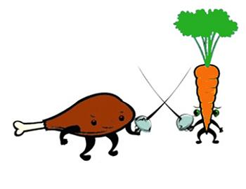 Фото из интернета https://www.nicole-rensmann.de/2014/02/19/kolumne-vegane-kueche-vs-fleischeslust-streiten-bis-blut-und-tomatensaft-spritzen/